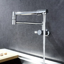 Kitchen faucet - Single Handle One Hole Chrome Pot Filler Wall Mounted Contemporary Kitchen Faucet