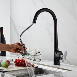 Single Handle One Hole Chrome Black Finishes Pull-out ,Pull-down Sprayer Mount Outside Contemporary Kitchen Faucet
