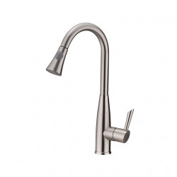 Contemporary Pull-out,Pull-down Deck Mounted Pullout Spray Ceramic Valve One Hole Single Handle One Hole Nickel Brushed,...