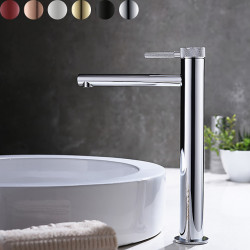 Bathroom Sink Faucet - High Chrome,Brushed Gold,Black Or White Painted Finishes Centerset Single Handle One Hole Bath Mixer...