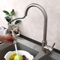 Kitchen faucet - Single Handle One Hole Stainless Steel Pull-out,Pull-down,Tall,High Arc Vessel Contemporary,Art...