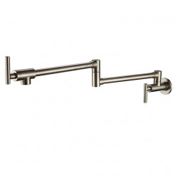 Kitchen faucet - Two Handles One Hole Nickel Brushed Pot Filler Wall Mounted Traditional Kitchen Faucet