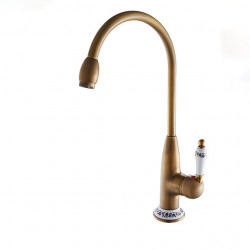 Kitchen faucet - Single Handle One Hole Antique Copper Standard Spout,Tall,High Arc Free Standing,Brass