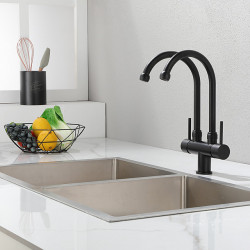 Kitchen faucet - Two Handle One Hole Hot N Cold Water MixerMatte Black Finishes High Arc Mount Outside Contemporary Kitchen Faucet