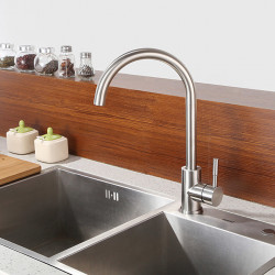 Kitchen faucet - Single Handle One Hole Nickel Brushed Standard Spout Centerset Contemporary Kitchen Faucet