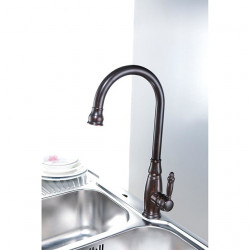 Traditional Oil-rubbed Bronze Finish One Hole Single Handle Deck Mounted Rotatable Brass Kitchen Faucet