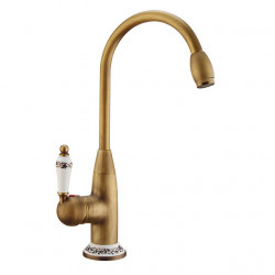 Kitchen faucet - Single Handle One Hole Antique Copper,Electroplated Standard Spout,Tall,High Arc Centerset...