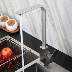 304 Stainless Steel Kitchen Hot And Cold Faucet Washing Basin Sink Drawing Square Basin Faucet