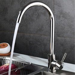 Stainless Steel Mirror Light Kitchen Faucet Mirror Light Hot And Cold Dish Basin Rotatable Faucet