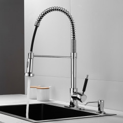 Kitchen faucet - Single Handle One Hole Electroplated Pull-out,&shy,Pull-down,Standard Spout,Tall,High Arc Deck Mounted...