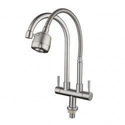 Stainless Steel Faucet Single Cooling Double Pipe Double Handle Universal Rotation Kitchen Sink Double Outlet Faucet