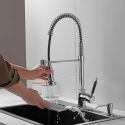 Kitchen faucet with Soap Dispensor - Single Handle One Hole Electroplated Pull-out,&shy,Pull-down,Tall,&shy,High...