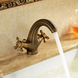 Bathroom Sink Faucet - Waterfall Antique Brass Centerset One Hole,Two Handles One HoleBath Faucet
