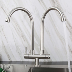 Stainless Steel Faucet Single Cooling Double Pipe Double Handle Kitchen Sink Double Outlet Faucet