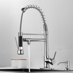 Kitchen faucet with Soap Dispenser- Single Handle Two Holes Electroplated Pull-out,&shy,Pull-down,Standard Spout,Tall,High Arc...