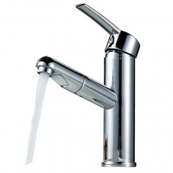 Kitchen faucet - Single Handle One Hole Chrome Pull-out,Pull-down Widespread Contemporary Kitchen Faucet