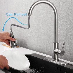 Single Handle Touch Kitchen Faucet - Sensor One Hole Nickel Brushed Pull-out ,Pull-down Centerset Contemporary Kitchen Faucet...