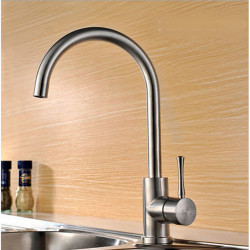 Stainless Steel Kitchen faucet - Single Handle One Hole Stainless Steel Standard Spout Centerset Contemporary Kitchen Faucet