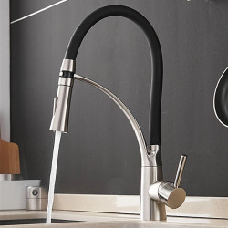 Kitchen faucet - Single Handle One Hole Nickel Brushed Pull-out,&shy,Pull-down Centerset Contemporary Kitchen Faucet