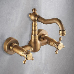 Kitchen faucet - Two Holes Antique Brass Bar,Prep Wall Mounted Traditional Kitchen Faucet,Two Handles Two Holes