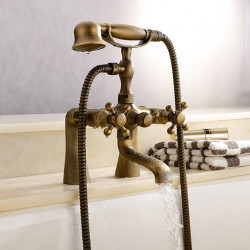 Shower Faucet, Antique Brass Wall Mounted Bathtub Shower Mixer Faucet Contain with Handshower,Supply Lines