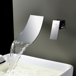 Sink Faucets - Contemporary Chrome,Electroplated Wall Mount,Waterfall Two Holes