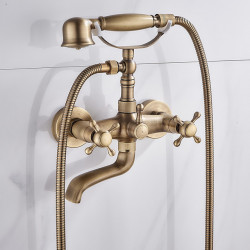 Bathtub Faucet, Antique Brass Rainfall Shower Mixer Faucet Contain with Handshower and Cold,Hot Water